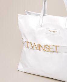 Borsa shopper in pelle con logo Bianco Neve Donna 201TA7090-03