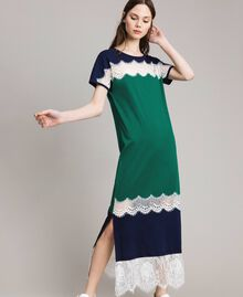 Long colour block dress with lace Evergreen Green Woman 191TP2271-02
