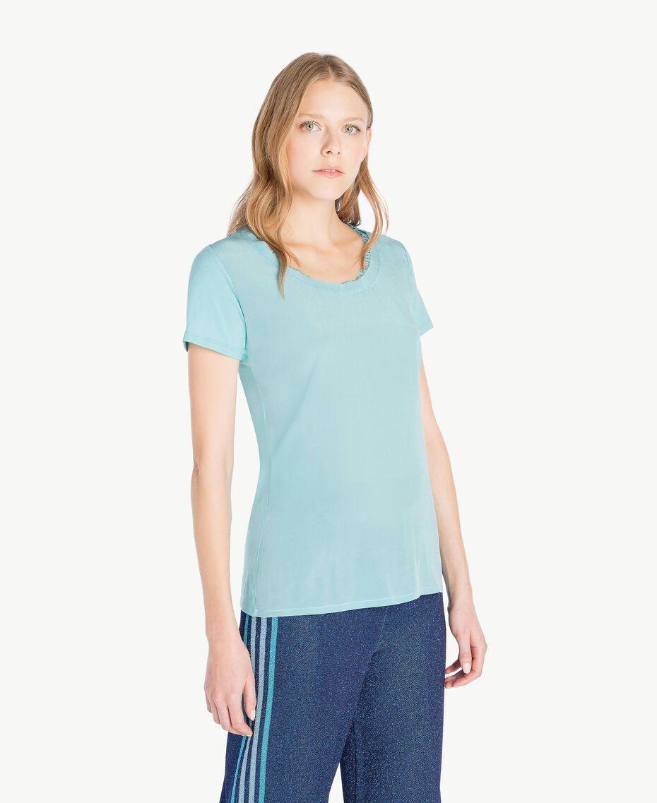 T-shirt soie Bleu ciel Femme PS82HB-02