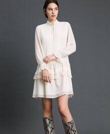 Kleid aus Georgette mit Reißverschluss Weiß Vanille Frau 192MT2060-01