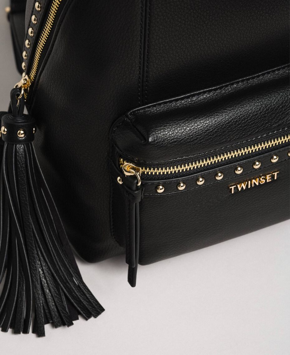 Faux leather backpack with studs Black Woman 192TO8165-03