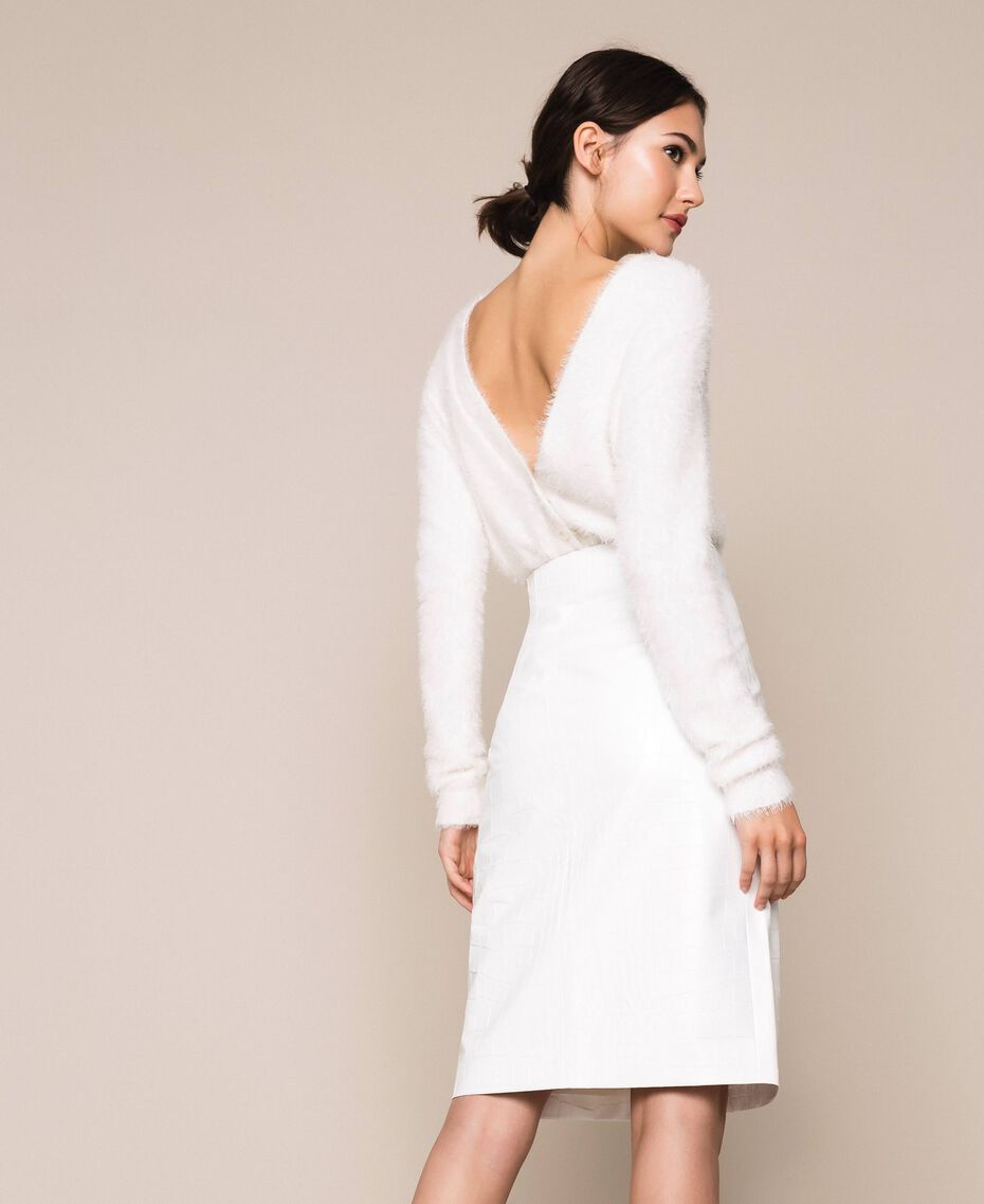 Crocodile print faux leather skirt White Snow Woman 201TP2363-03