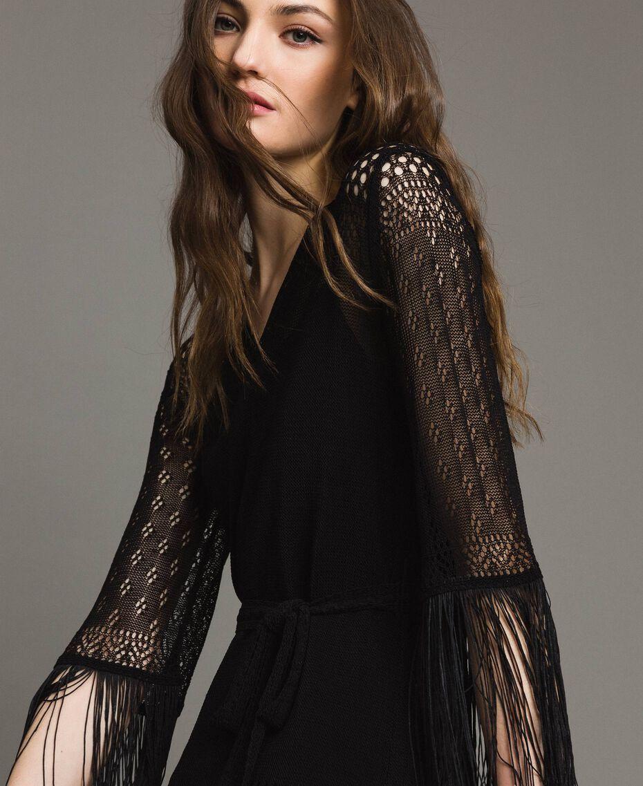 Mesh stitch fringed dress Black Woman 191TT3060-03
