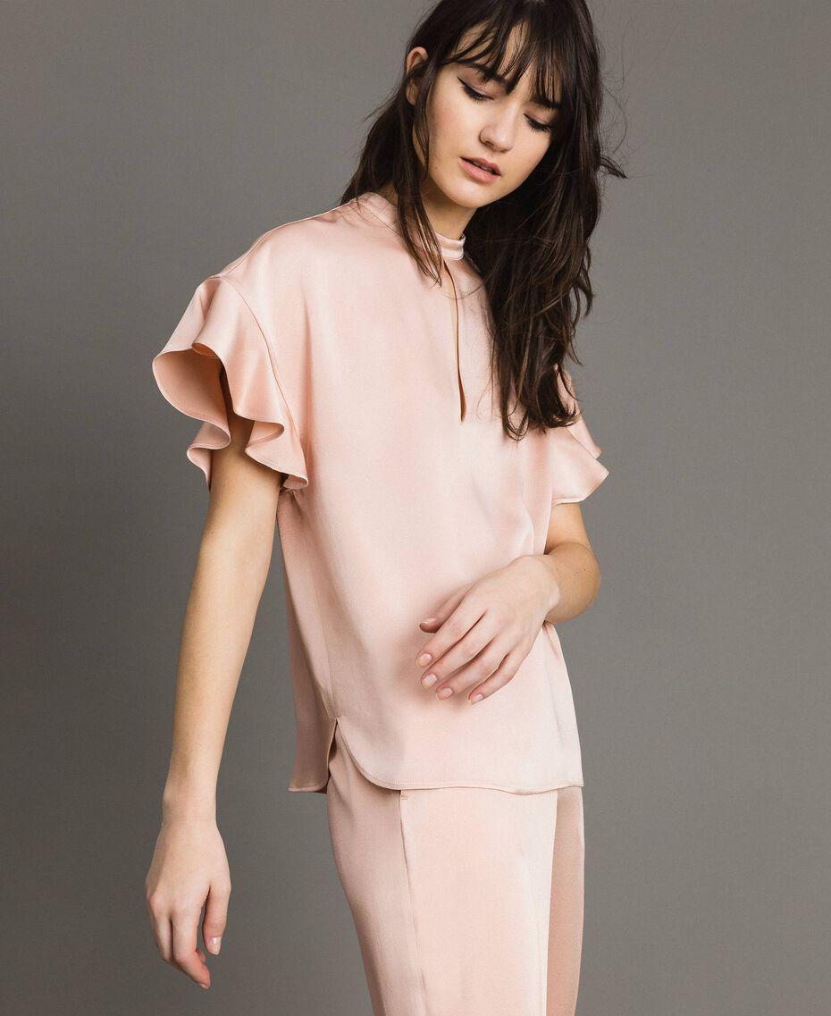 """Teardrop opening blouse """"Nude"""" Beige Woman 191TP2694-01"""