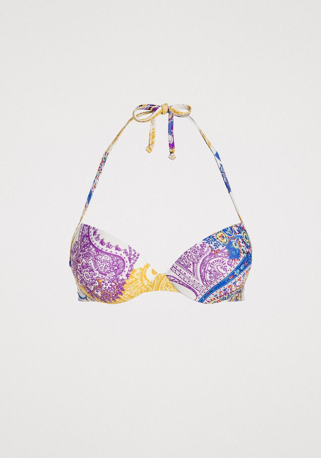 Haut de bikini push-up avec imprimé paisley