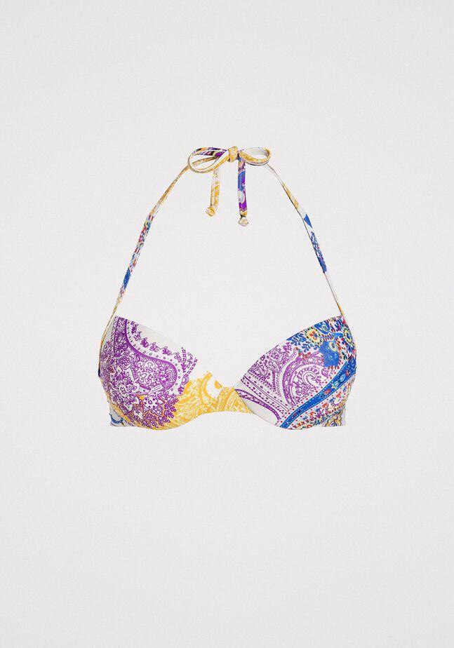 Paisley print push-up bikini top