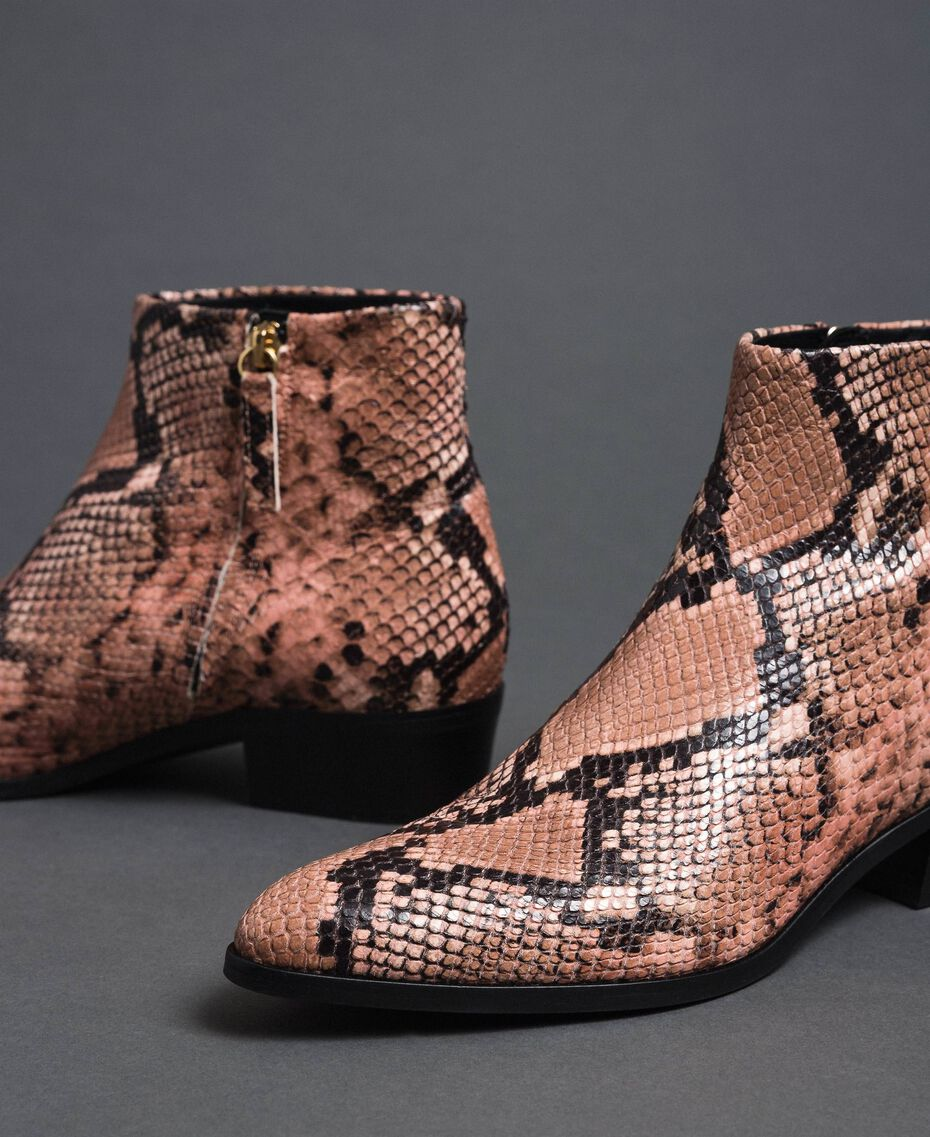 Animal print leather booties Mousse Pink Python Print Woman 192TCP10A-01