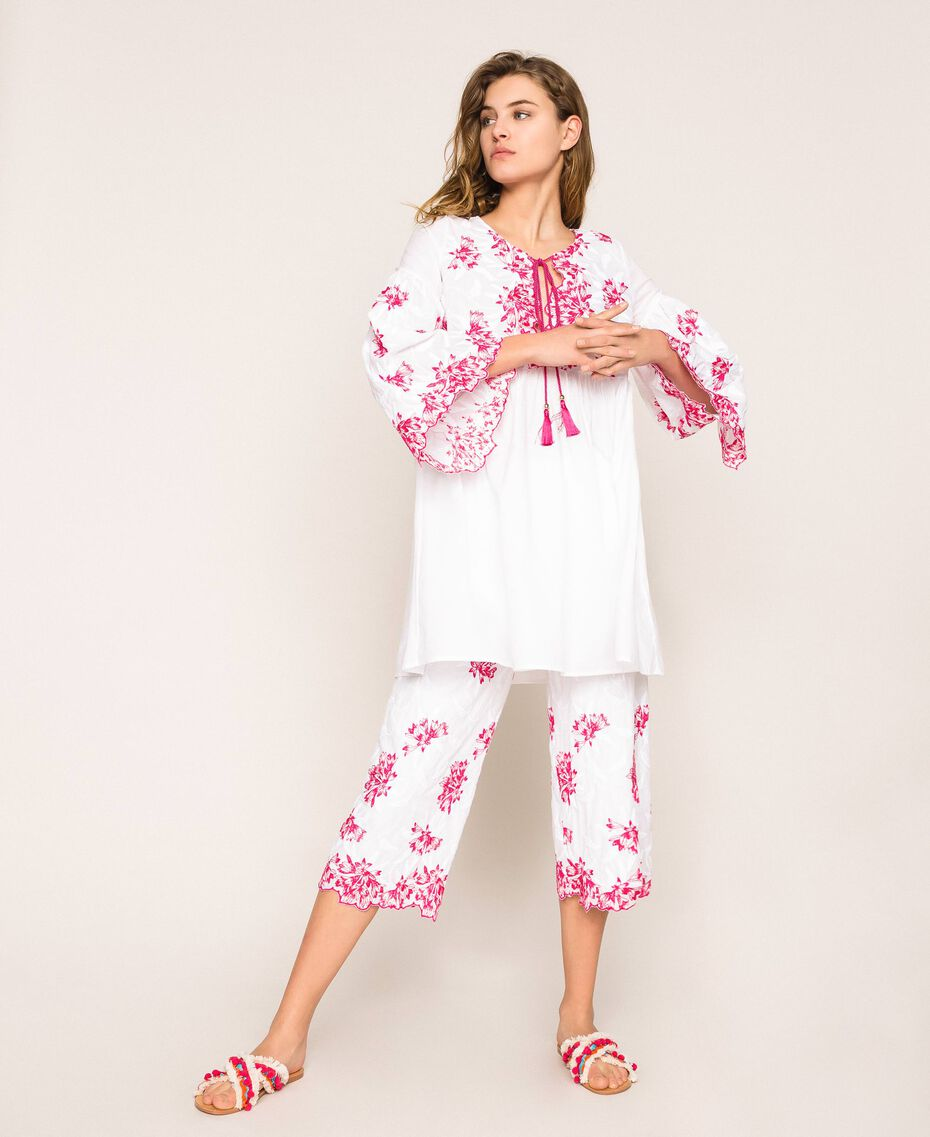 Kaftan with two-tone embroidery Two-tone Shocking Pink / Optical White Woman 201LM2NBB-02