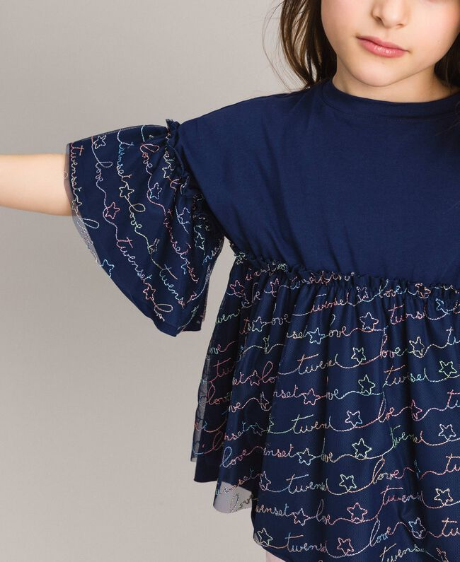 Jersey and tulle embroidered blouse with logo Indigo Child 191GJ2441-04