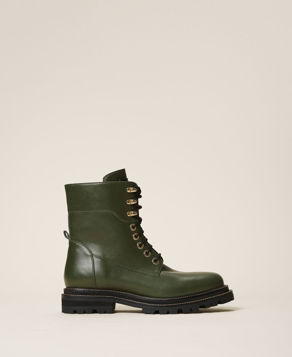 Tie-up leather combat boots Dark Olive Green Woman 202TCP182-01
