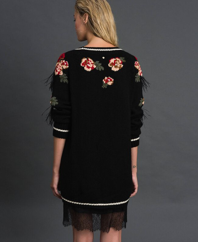 Maxi jumper with floral jacquard and embroidery Black Woman 192TP3321-03