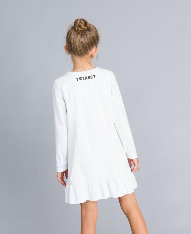 Kleid aus Lederimitat und Interlock-Jersey Mattweiß Kind GA82LU-03