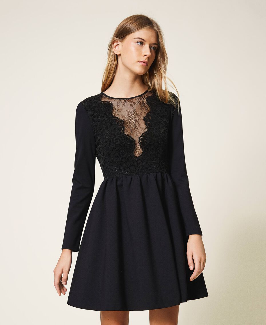 Dress with lace Black Woman 202TT2285-01