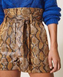 Animal print faux leather shorts Walnut / Tobacco Snakeskin Print Woman 202TT2226-04