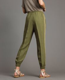 "Pantalon de jogging en lin Vert ""Olive"" Femme 191TT230B-03"
