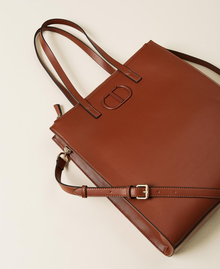 Vertical shopper with logo Leather Brown Woman 212TB7060-02
