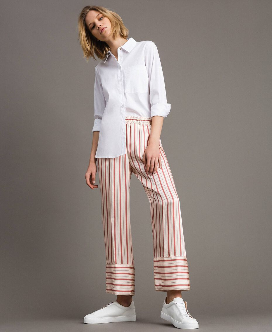 Striped satin trousers Pearl Pink Striping Woman 191TP245B-01