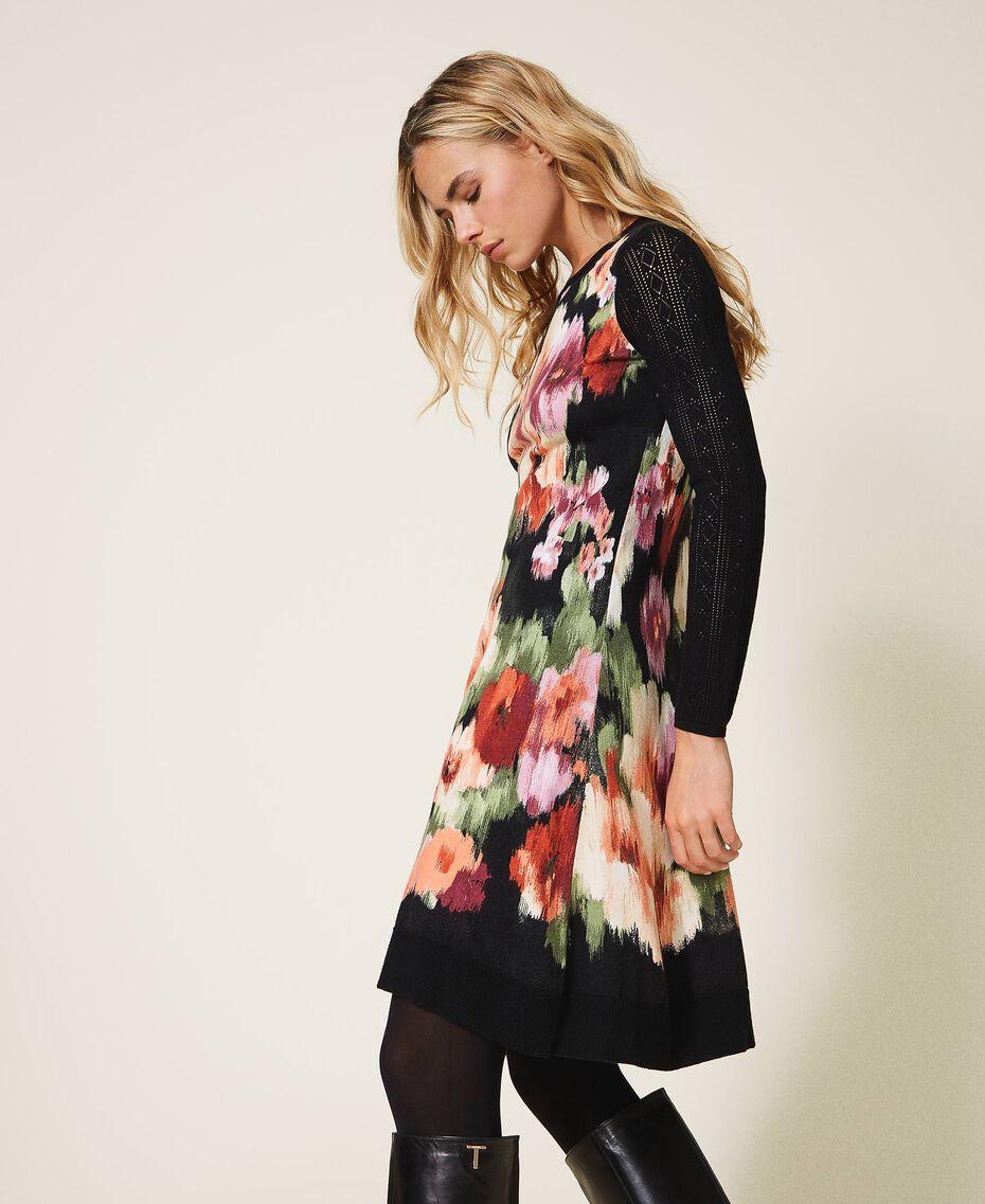Robe en maille florale Fleur Chiné Noir Femme 202TT3342-02