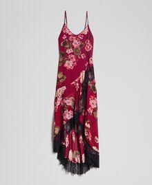 Abito sottoveste in creponne con stampa a fiori Stampa Rosso Beet Geranio Donna 192TP2727-0S
