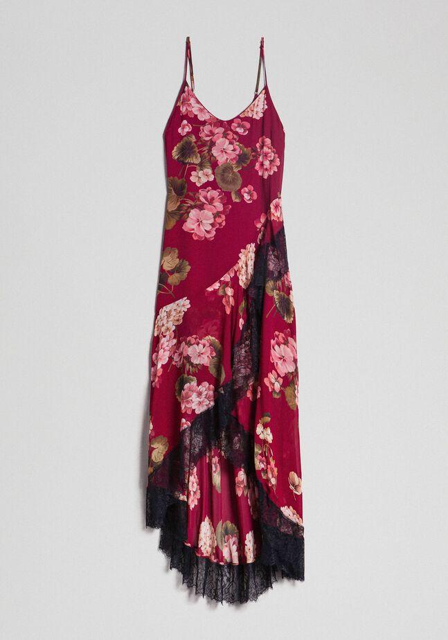 Robe nuisette en crépon avec imprimé floral
