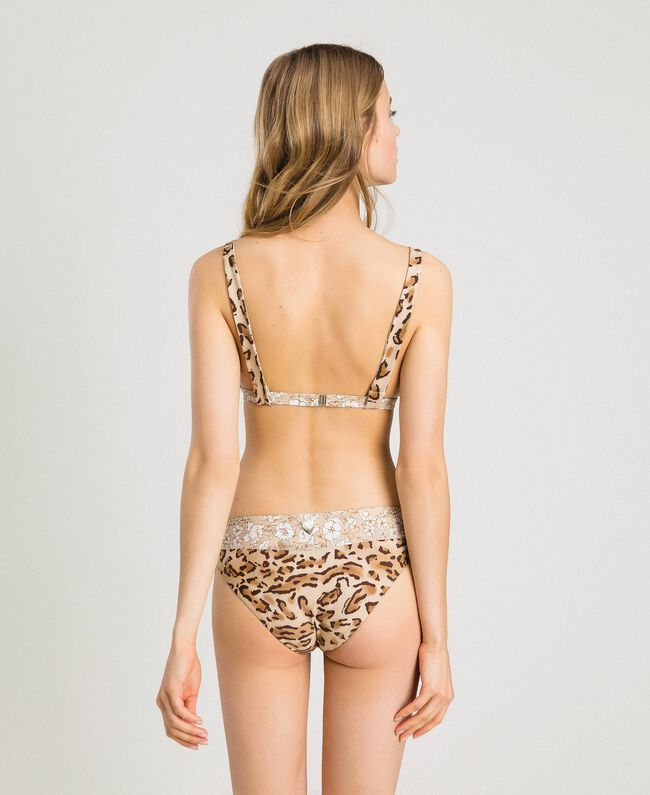 "Leopard print triangle bikini top ""Petra Sandstone"" Brown Animal Print Woman 191LMMU33-03"
