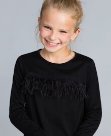 Jersey dress with feathers Black Child GA827A-04