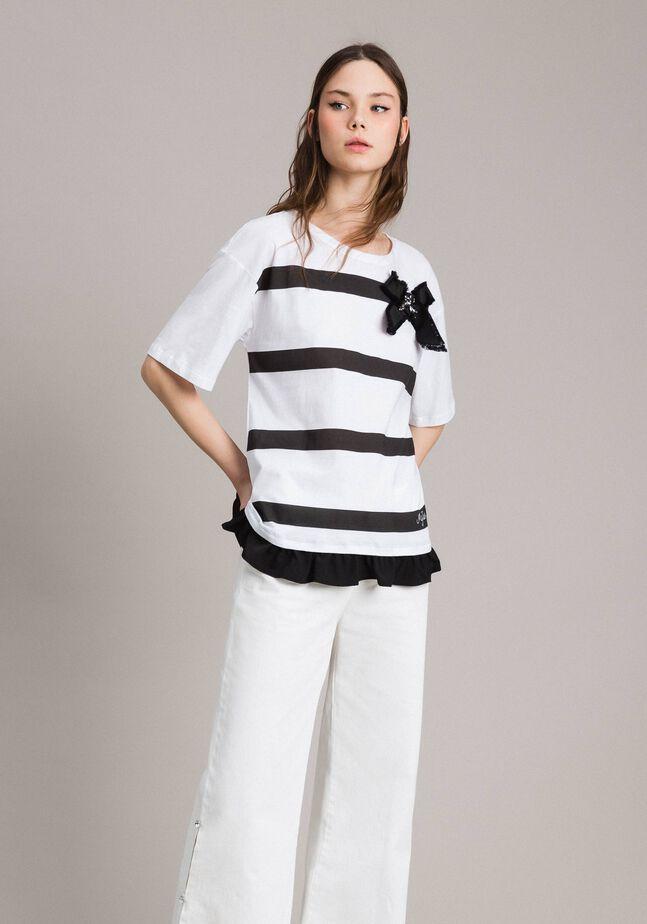 Maxi t-shirt rayé avec nœud