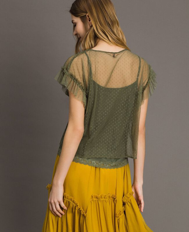 """Tulle blouse with slip top """"Olive Green"""" Woman 191ST2070-04"""