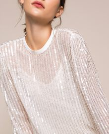 Tulle and full sequin blouse Ivory Woman 201TP2050-04