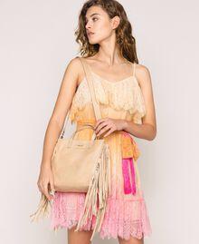 Cabas moyen en cuir avec franges Beige Nougat Femme 201TO8141-0S