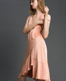 "Satin dress with asymmetric tailoring ""Nude Pink"" Woman 192TT2295-02"