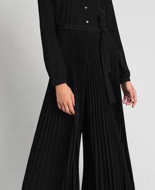 Pleated crêpe de Chine jumpsuit Black Woman 192TT2294-04