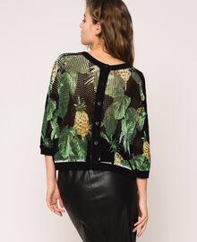 Pull-cardigan au point filet Imprimé Ananas avec Feuilles Noir Femme 201TT3191-03