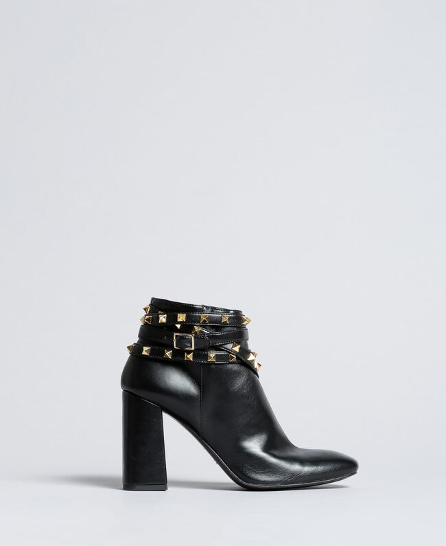 Faux leather ankle boots with studs Black Woman DA8PEJ-03