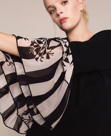 Трикотажное платье с набивными оборками Двухцветный Черный / Принт Полоска женщина 201TP3252-04