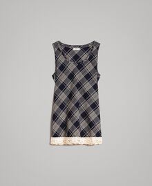 Check top with lace Blue Shadow Check Jacquard Woman 191ST2130-0S