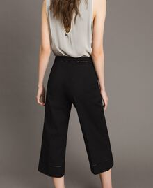 Poplin trousers with embroideries Black Woman 191TT2244-04
