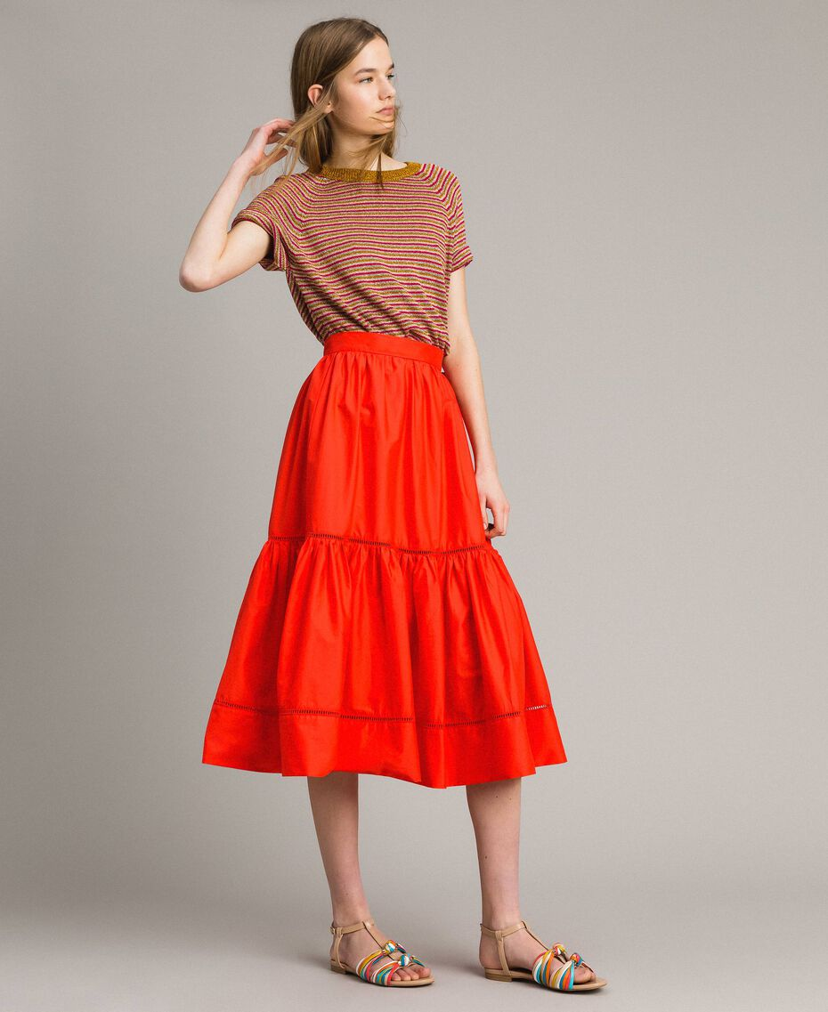 Poplin mid-length skirt Granadine Red Woman 191TT224B-01