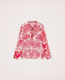 Blouse en crêpe georgette imprimé paisley Imprimé Paisley Rouge «Lave» / Rose«Boutons de Fleurs» Femme 201TP2531-0S