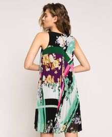 Pleated georgette printed dress Black Scarf Print Woman 201MP2364-03