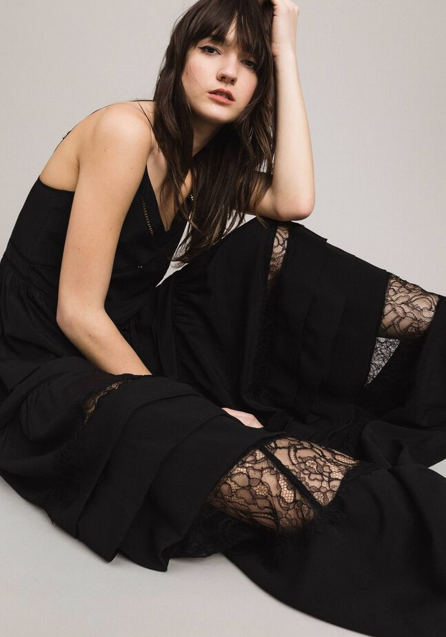 Silk blend and lace long dress