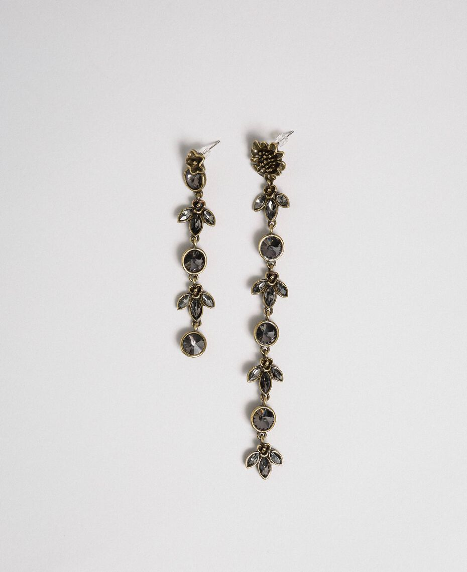 Asymmetric earrings with flowers and bezels Black Diamond Grey Woman 192TO531A-01