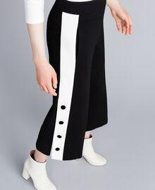 "Pantaloni cropped in punto Milano Bicolor Nero / Bianco ""Neve"" Donna PA821P-04"