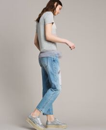 Jean girlfriend brodé et déchiré Bleu Denim Femme 191MP2480-02