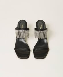 Leather sandals with rhinestone fringes Black Woman 211TCT030-05
