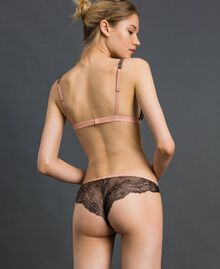 "Brazilian briefs with rhinestones and laminated lace ""Peach"" Pink Woman 192LL6J77-03"
