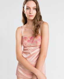 "Top intimo con carré in pizzo bicolore Bicolor Royal Pink / Marrone ""Amber Dust"" Donna IA8AAA-0S"