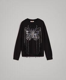Sweat-shirt avec broderie papillon et franges Noir Femme 191TP2590-0S