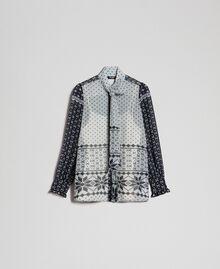"""Hemd aus bedrucktem Georgette Printmix """"Air de Neige"""" Schwarz und Vanille Frau 192MT2391-0S"""