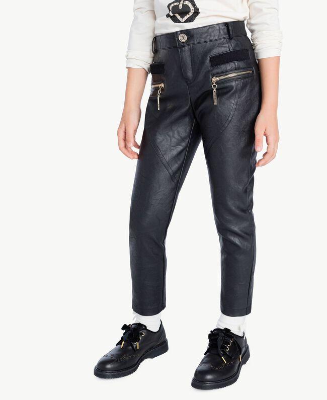 Pantalón de cuero sintético Negro GA72A1-04